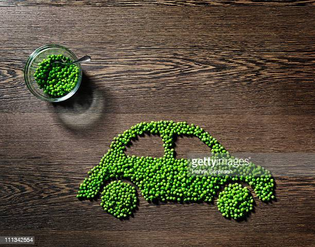 car made out of green peas