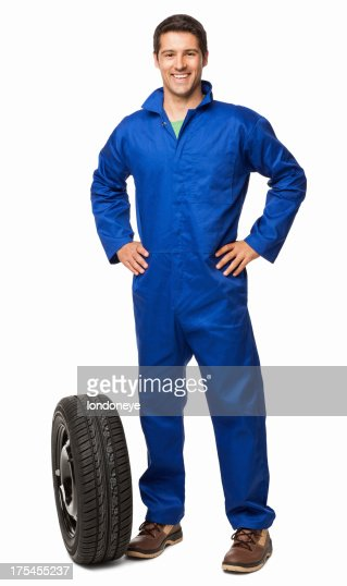 Car Mechanic And Spare Tyre - Isolated