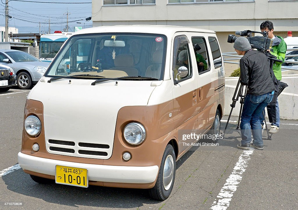 Car of suspect Yasuo Yamamoto is parked at Obama Police Station on April 25 2015 in Obama Fukui Japan Yamamoto unemployed turned himself in to the...