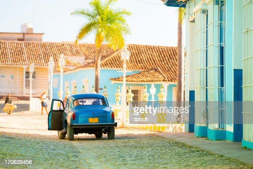 Car on a street in Trinidad old town, Cuba