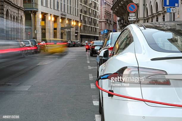 Car on charge in the downtown of Budapest