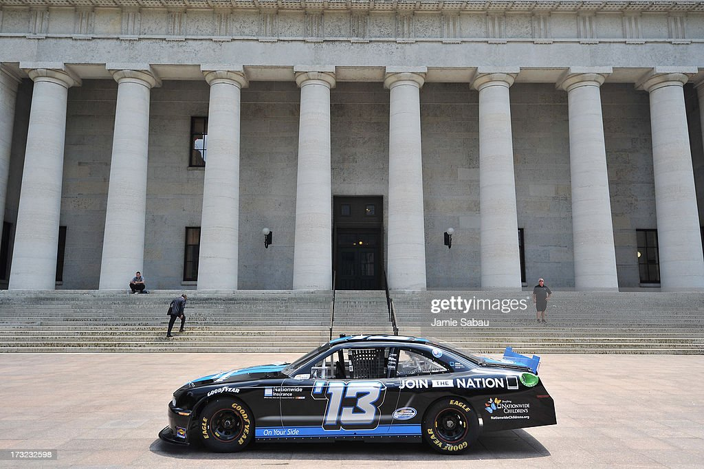A NASCAR car on display outside the Ohio Statehouse on July 10, 2013 in Columbus, Ohio.