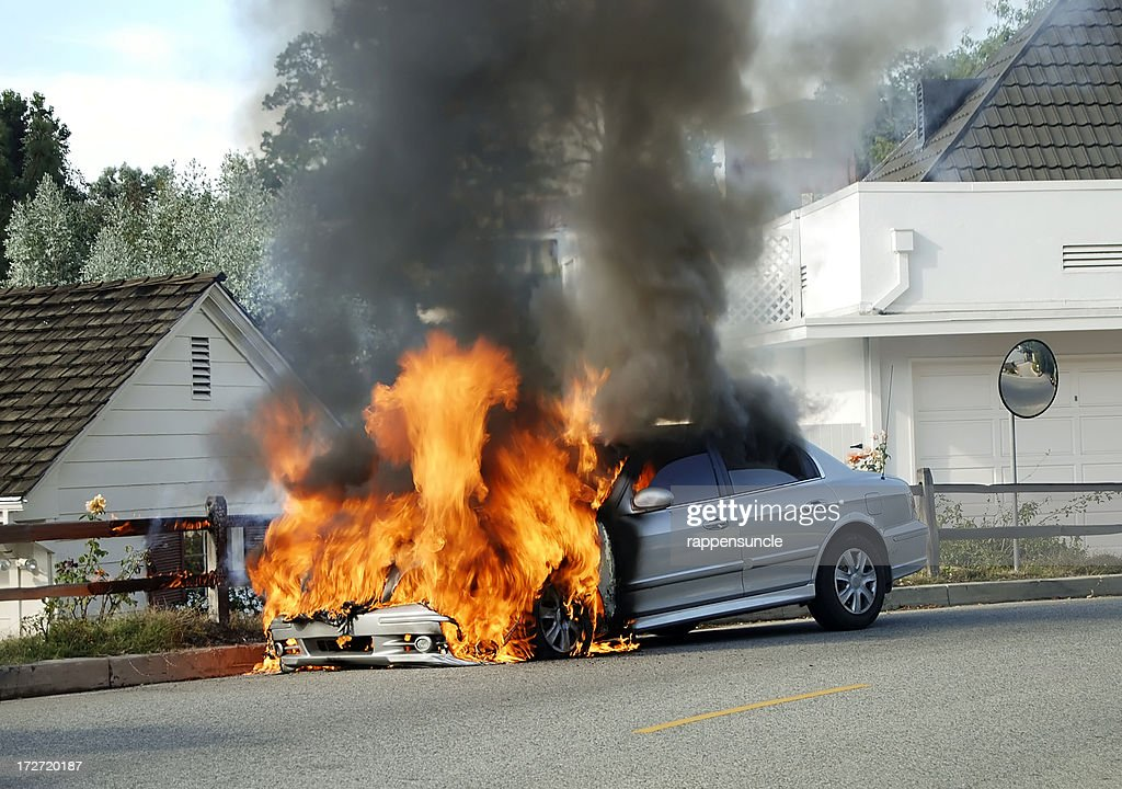 Car on fire : Stock Photo