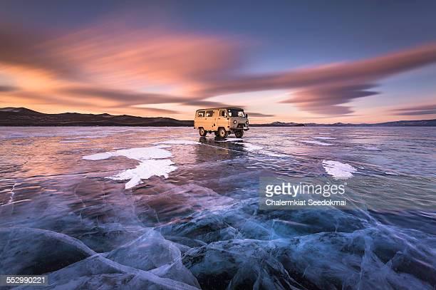 Car on Ice at Lake Baikal