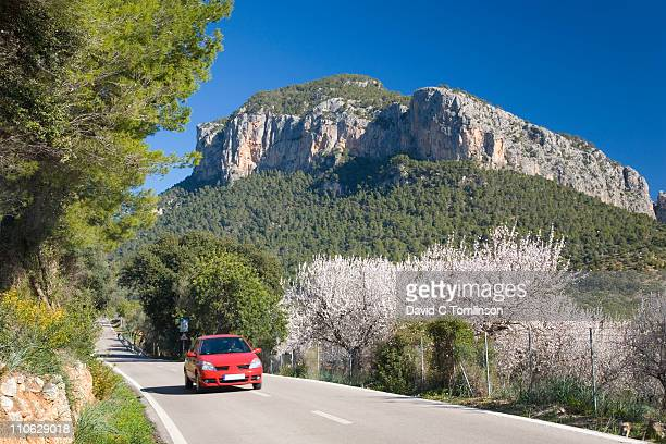 Car on quiet country road near Alaro, Mallorca