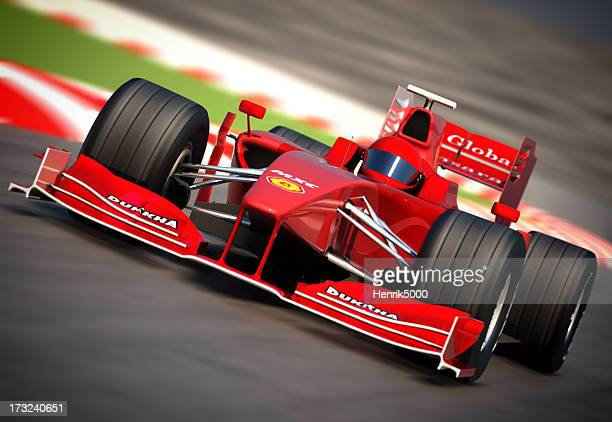 F1 car on racetrack, clipping path included