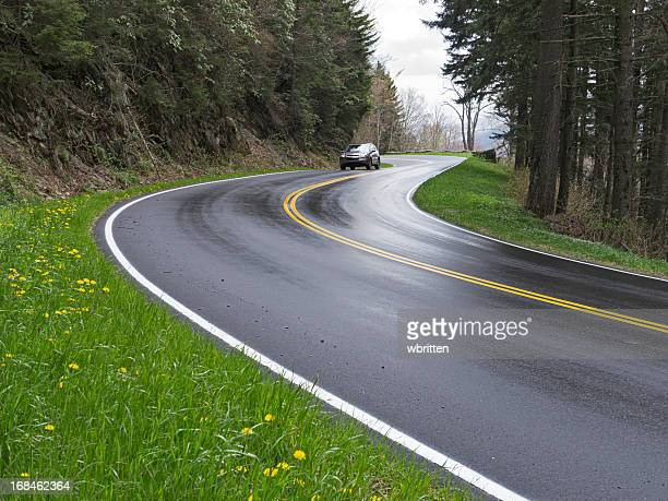 Car on Road curves in the Smoky Mountains