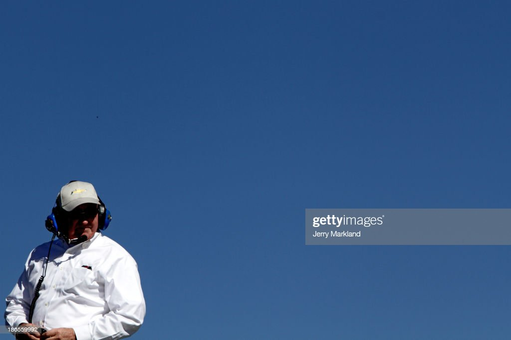 Car owner Richard Childress looks on from the top of the car transporter during practice for the NASCAR Sprint Cup Series AAA Texas 500 at Texas...