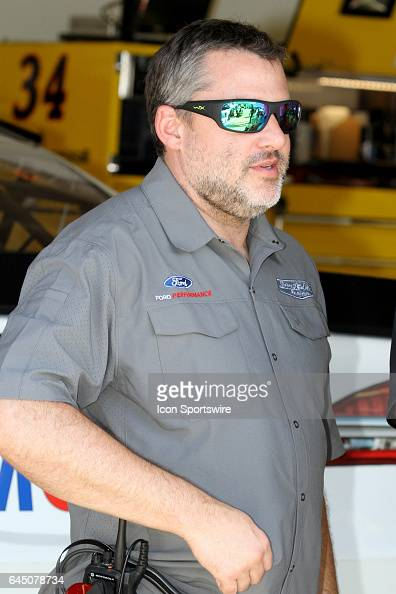 Car owner Tony Stewart in the garage during practice for the NASCAR Monster Energy Cup Series Daytona 500 on February 24 at the Daytona International...