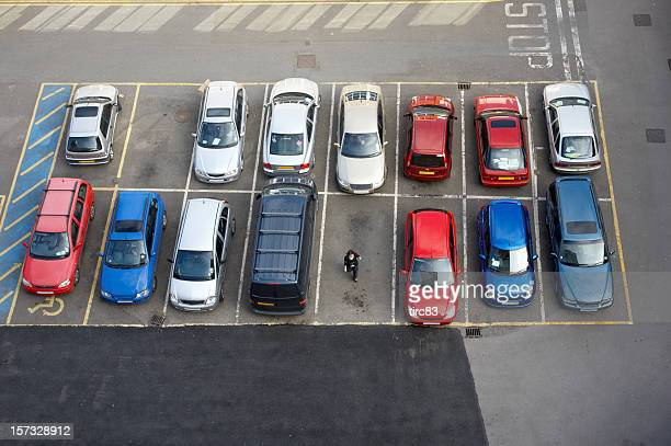 Car park and woman