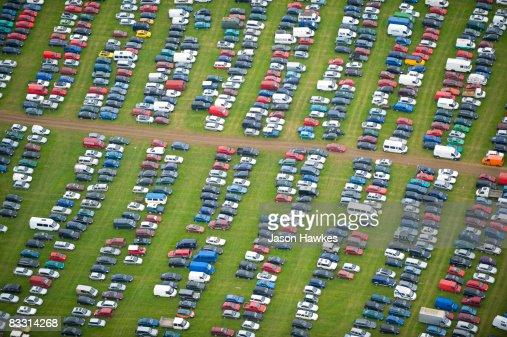 Car park at Glastonbury Festival, Somerset : Stock Photo