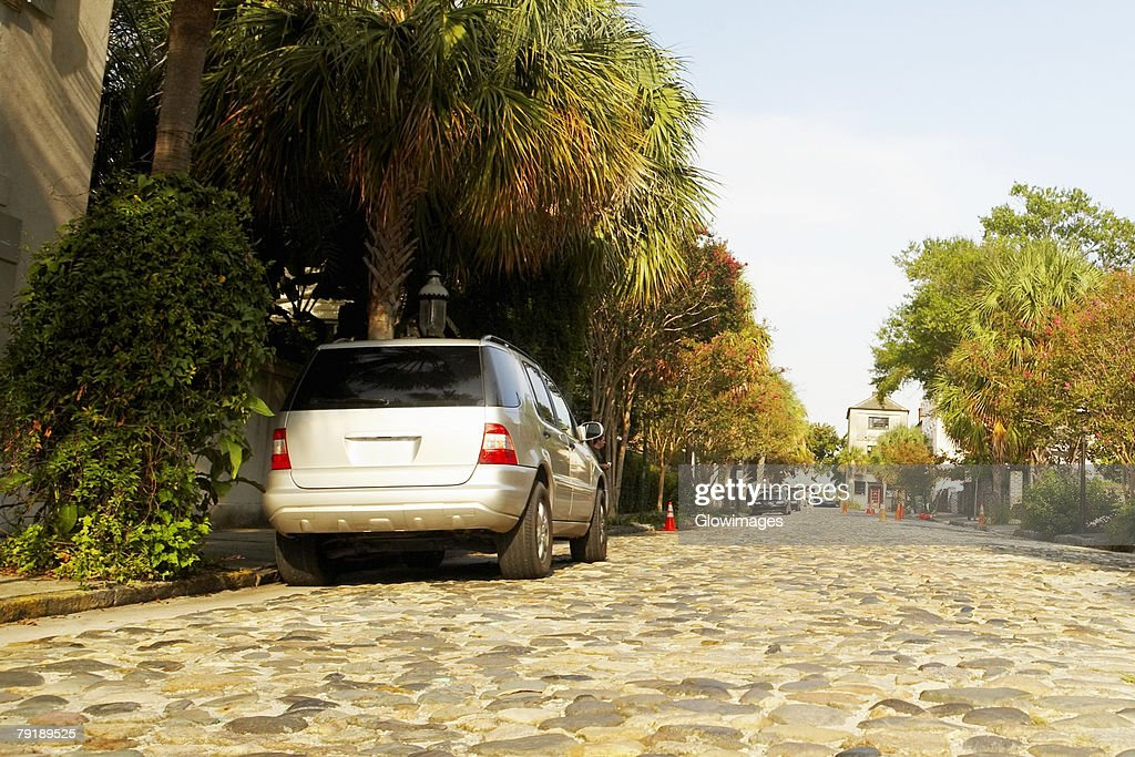 Car parked at the roadside, Charleston, South Carolina, USA : Stock Photo