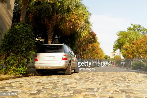 Car parked at the roadside, Charleston, South Carolina, USA : Stock Photo