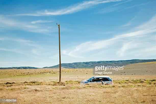 お車の駐車場の砂漠