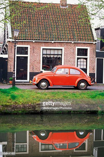 Car parked in front of a house, Edam, Netherlands