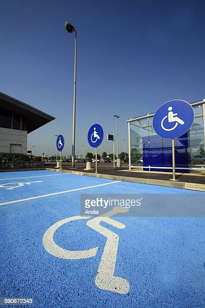 Car parks for disabled persons in the area surrounding the train station 'TGV Haute Picardie' 'SNCF' French nation al railroad company user handicap...