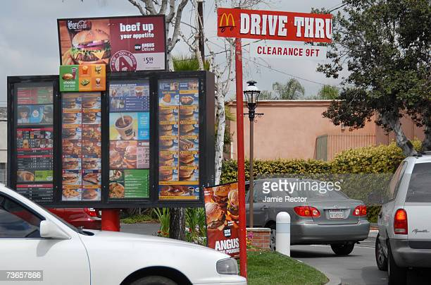 Car queue at the McDonalds drivethrough on March 21 2007 in Anaheim Calfornina McDonald's have introduced the Angus Third Pounder range as part of...
