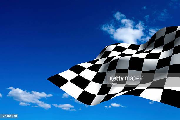 Car Racing checkered flag on blue sky.