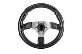 car racing sport steering wheel with soft black shammy leather and ergonomic handle isolated on a white background.