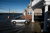 A car remained just out of flood waters after a blizzard hit the region on January 24 2016 in North Wildwood New Jersey A major snowstorm hit the...