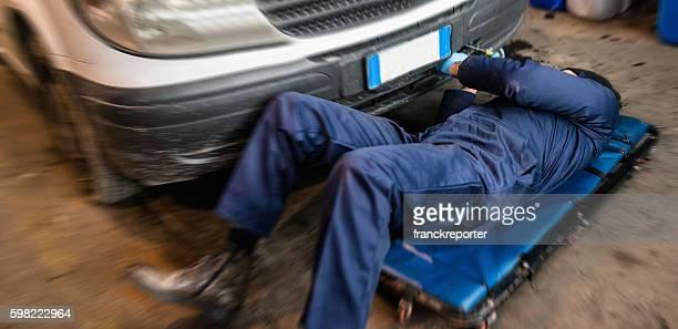 car repairman on the garage