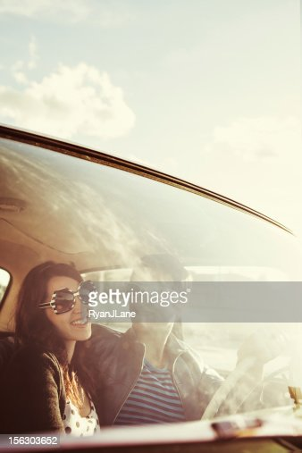 Car Ride Couple Retro : Stock Photo