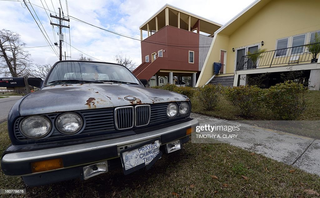 A car sits in front of one of the modular houses built by the Brad Pitt's Make It Right Foundation in the Lower Ninth Ward of New Orleans on February 5, 2013. Pitt rasied $30 million for the project that consists of hurricane-proof homes. The Ninth Ward suffered the worst damage from Hurricane Katrina that occured in 2005 after multiple breaches in the levees of at least four canals. As of March 2009, hundreds of houses have been rebuilt, and dozens of new homes have been constructed.