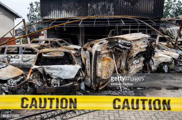 A car stand burned completely in the village of Tondela on October 19 2017 in Viseu region Portugal Portugal's forest fires broke out on October 15...