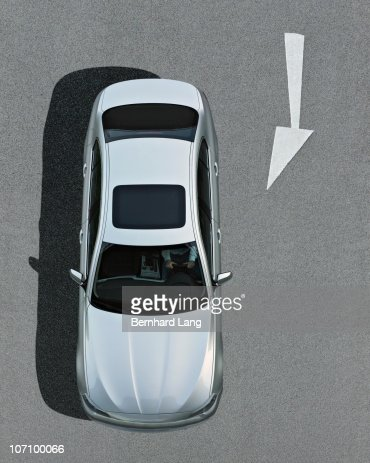 Car standing on street, elevated view : Stock Photo