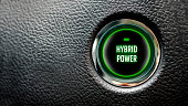 hybrid power message on automobile ignition button with large copy space