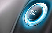 Close up of car stop start system with copyspace on the left, 3D illustration
