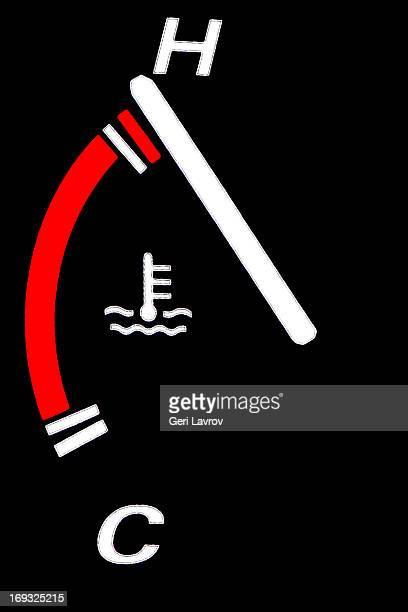 Car temparature gauge on hot