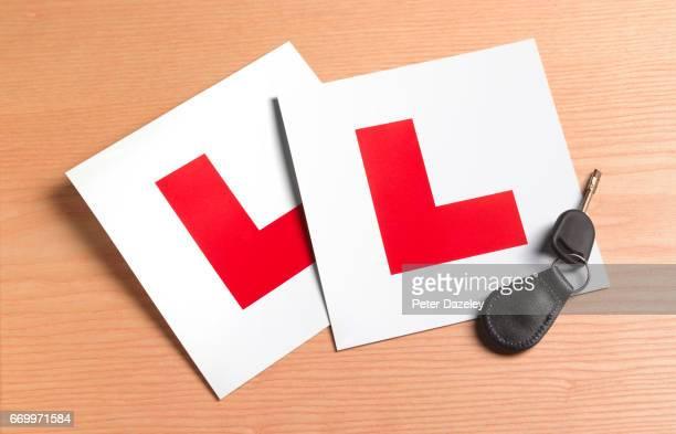Car test L plates and car key