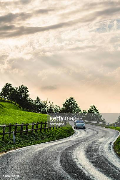 Car through a country road