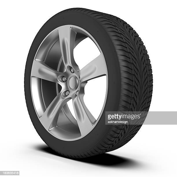 Car tire and wheel on white background