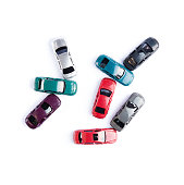 Car toy colorful watercolor style crash accident isolated on white background on top view