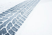 Car track on a wet snowy road, closeup background photo texture