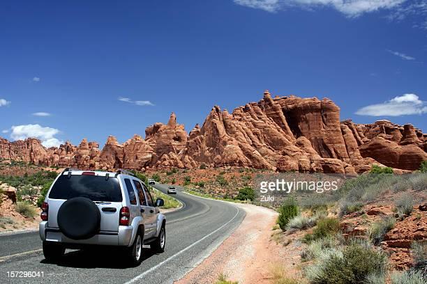 Voyageant en voiture Parc National Arches National Park