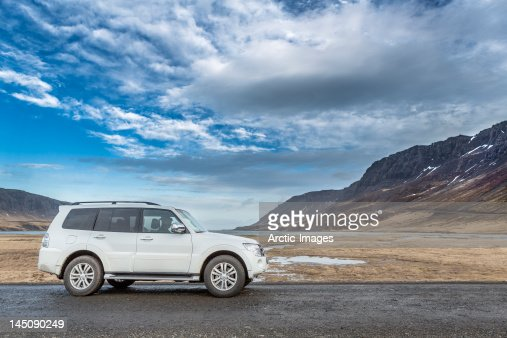 Car traveling on road, Snaefellsnes Peninsula : Stock Photo