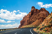 Journey to the south of the USA. Modern roads and stone landscapes of Utah, Nevada and Arizona
