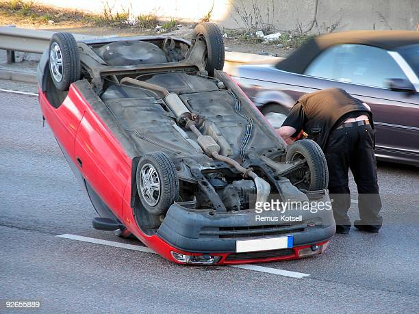 Car turned upside down in an accident