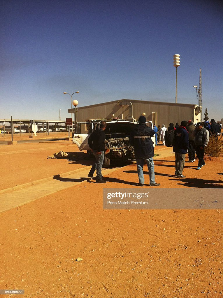 A car used by jihadists to ram than entrance at the Algerian gas site of Tinguentourin is seen in a photograph taken by an unnamed hostage with his mobile phone on January 16, 2013 in Amenas, Algeria. Dozens of civilians and militants were killed during the four day siege undertaken by a group led by jihadist Mokhtar Belmokhtar.