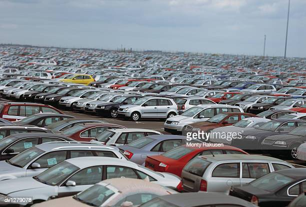Car Waiting For Export in Storage at the UK Port of Immingham in Humberside, UK