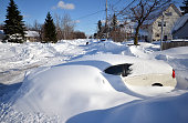 A car waits to be recovered along Milestrip Road on November 20 2014 in the suburb of Blasdell Buffalo New York The record setting Lake effect...