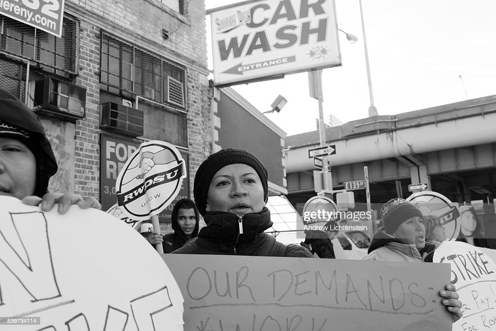 Car wash workers go on strike and form a picket line to discourage drivers to use Sunny Day Car Wash in the South Bronx The workers inspired by other...