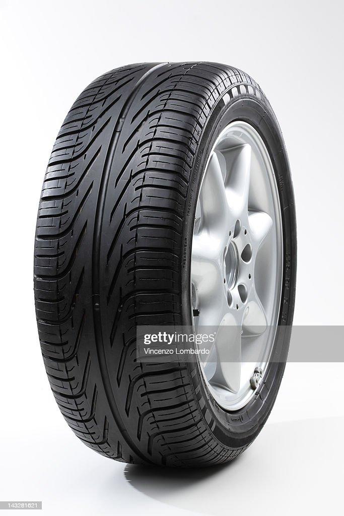 Car wheel, white background