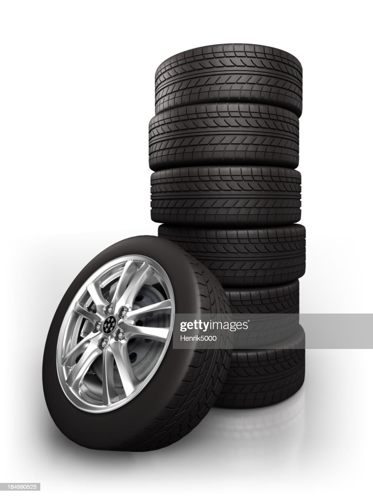 Car wheels - isolated on white with clipping path