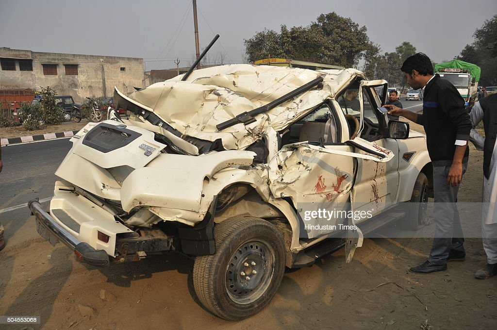 Car which rammed into two motorcycles overturned and fell into a pit after hitting the road divider near Jindal Nagar on National Highway 24 on...