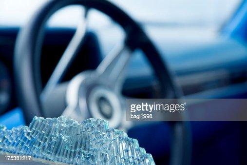 Car window smashed, close-up