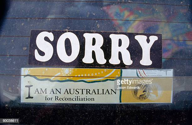 A car window sticker apologises for the state of Aboriginal affairs.